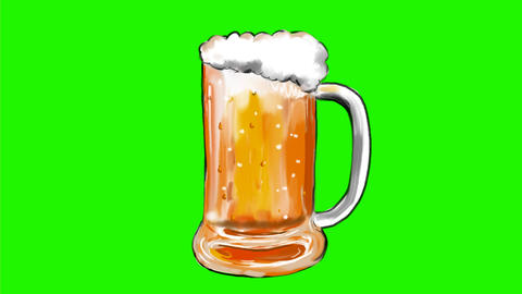 Beer Mug With Ale Bubbles sWatercolor 2D Animation Animation