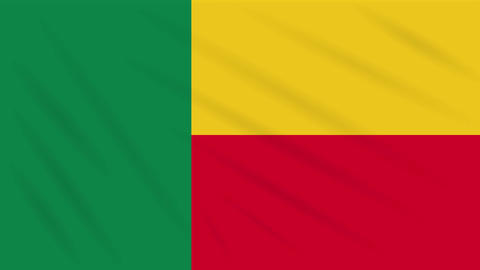 Benin flag waving cloth, background loop Animation
