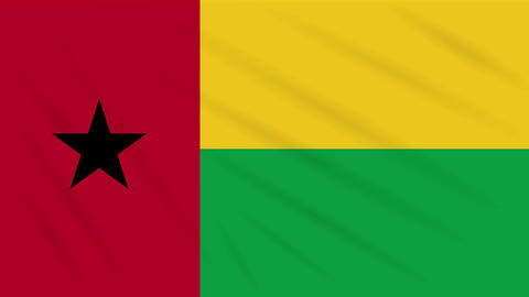 Guinea Bissau flag waving cloth, background loop Animation