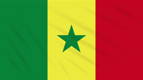 Senegal flag waving cloth, background loop Animation