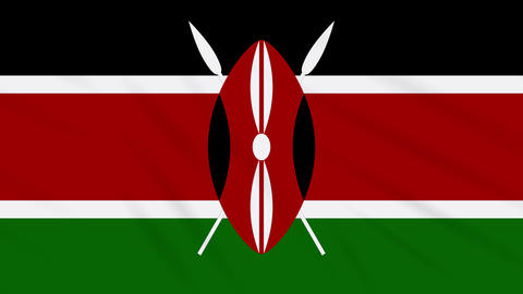 Kenya flag waving cloth, background loop Animation
