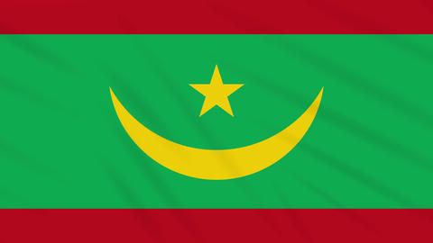 Mauritania flag waving cloth, background loop Animation