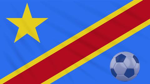 Congo DR flag waving and soccer ball rotates, loop Animation