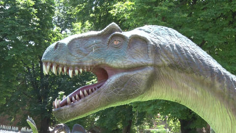 Realistic Allosaurus dinosaur in park Head Footage