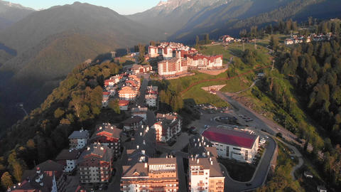 Panorama of the Olympic Village in the resort Rosa Khutor. Sochi, Russia Footage