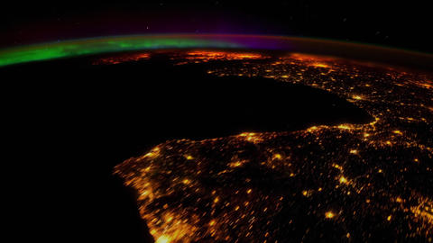 Earth seen from space. Majestic Aurora Borealis Live Action