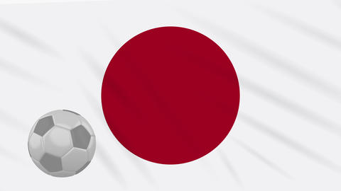 Flag of Japan and soccer ball rotates against backdrop of waving cloth Animation