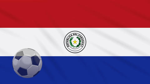 Flag of Paraguay and soccer ball rotates against backdrop of waving cloth Animation