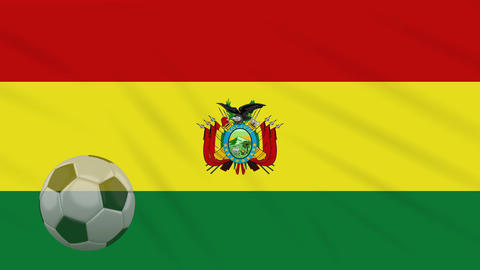 Flag of Bolivia and soccer ball rotates against backdrop of waving cloth Animation
