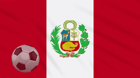 Flag of Peru and soccer ball rotates against backdrop of waving cloth Animation