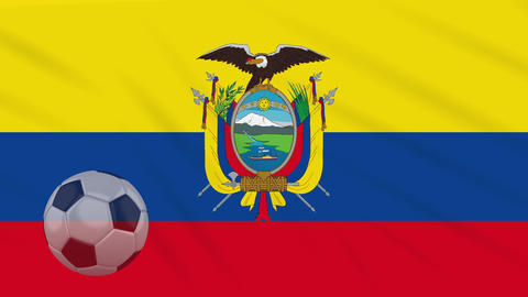 0557a678f Flag of Ecuador and soccer ball rotates against backdrop of waving cloth  Animation