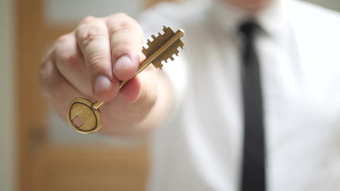 Real Estate Agent Gives Keys to Apartment Owner Live Action