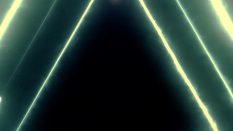 Neon bakcground flying through edless glowing rotating neon triangles creating a Footage