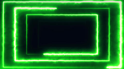 Neon bakcground flying through edless glowing rotating neon rectangle creating a Live Action