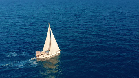 Aerial view. Beautiful view of Yacht saile in open sea Live Action