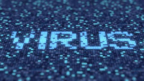 Hexadecimal symbols on a blue computer screen form VIRUS word. Loopable 3D Footage