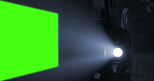 old movie film projector with 16 x 9 aspect ratio chroma key green screen background and flicker Live Action