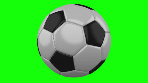 Soccer ball rotates on green hromakey background Animation