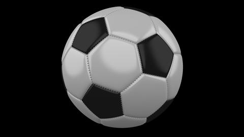 Soccer ball rotates on transparent background, 4k footage with alpha Animation