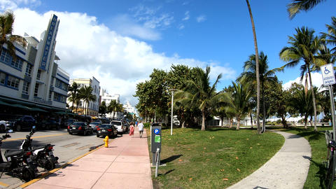 360 degrees panorama of world famous Ocean Drive in South Beach Footage