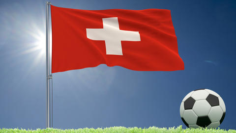 Flag of Switzerland fluttering and a football rolls on the lawn, 3d rendering, 4k footage Animation