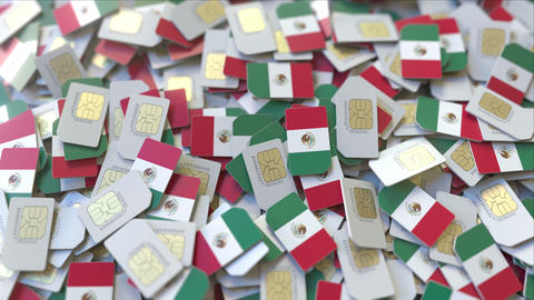 SIM cards with flag of Mexico. Mexican cellular network related conceptual 3D ビデオ