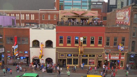 The famous Broadway in Nashville with all the bars and saloons - NASHVILLE Footage