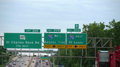 Traffic signs to Kansas City and St Louis - CHICAGO, USA - JUNE 20, 2019 Footage