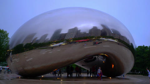Cloud Gate Chicago on a rainy day - CHICAGO, USA - JUNE 20, 2019 Footage