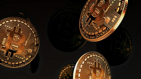 Bitcoin Coins Falling Down Like Rain Looping Background Animation