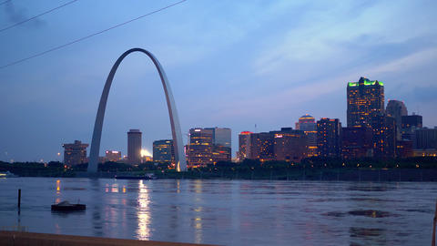 St. Louis skyline in the evening- SAINT LOUIS, USA - JUNE 19, 2019 Footage