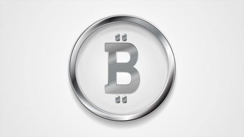 Crypto currency, metal motion icon bitcoin Animation