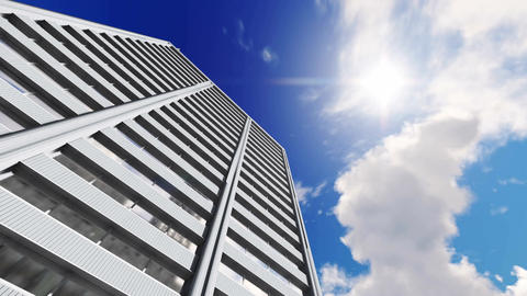 High rise office building against time lapse clouds sky background Footage