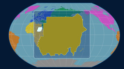Sudan - 3D tube zoom (Kavrayskiy VII projection). Continents Animation