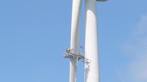 Wind power turbine maintenance Footage