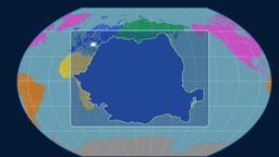 Romania - 3D tube zoom (Kavrayskiy VII projection). Continents Animation