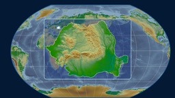 Romania - 3D tube zoom (Kavrayskiy VII projection). Bumps shaded Animation