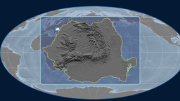 Romania - 3D tube zoom (Mollweide projection). Bumps Animation