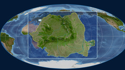 Romania - 3D tube zoom (Mollweide projection). Satellite Animation