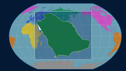 Saudi Arabia - 3D tube zoom (Kavrayskiy VII projection). Continents Animation