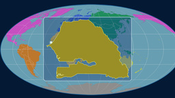 Senegal - 3D tube zoom (Mollweide projection). Continents Animation