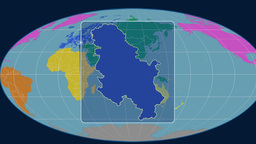 Serbia - 3D tube zoom (Mollweide projection). Continents Animation