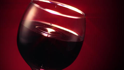 Red Wine Glass Drop Ripple Star Filter Footage