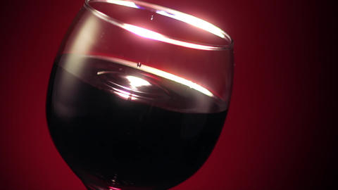 Red Wine Glass Drop Ripple Footage