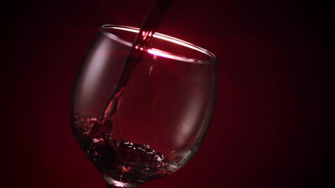 Red Wine Glass Pour Star Filter Footage