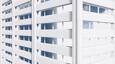 Abstract white high rise building exterior wall Close up Animation
