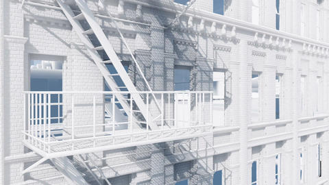 Fire escape staircase on abstract residential building Animation