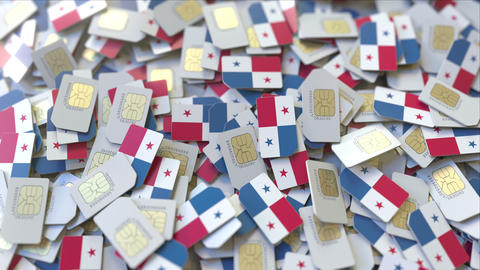Multiple SIM cards with flag of Panama. Panamian mobile telecommunications ビデオ