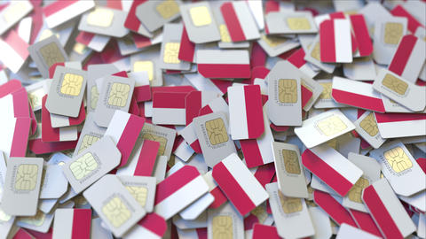 Many SIM cards with flag of Poland, Polish mobile telecommunications related 3D ビデオ