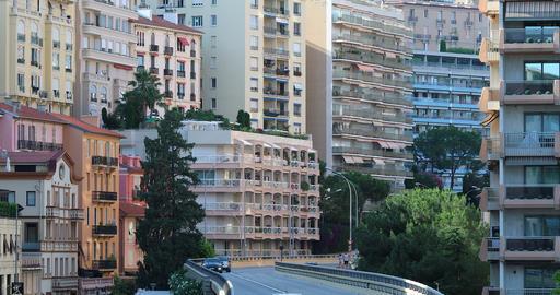Monaco Skyscrapers And City Traffic In Monaco Footage